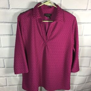 Lane Bryant SZ 14 16 Pink Tunic Top 3/4 Sleeve